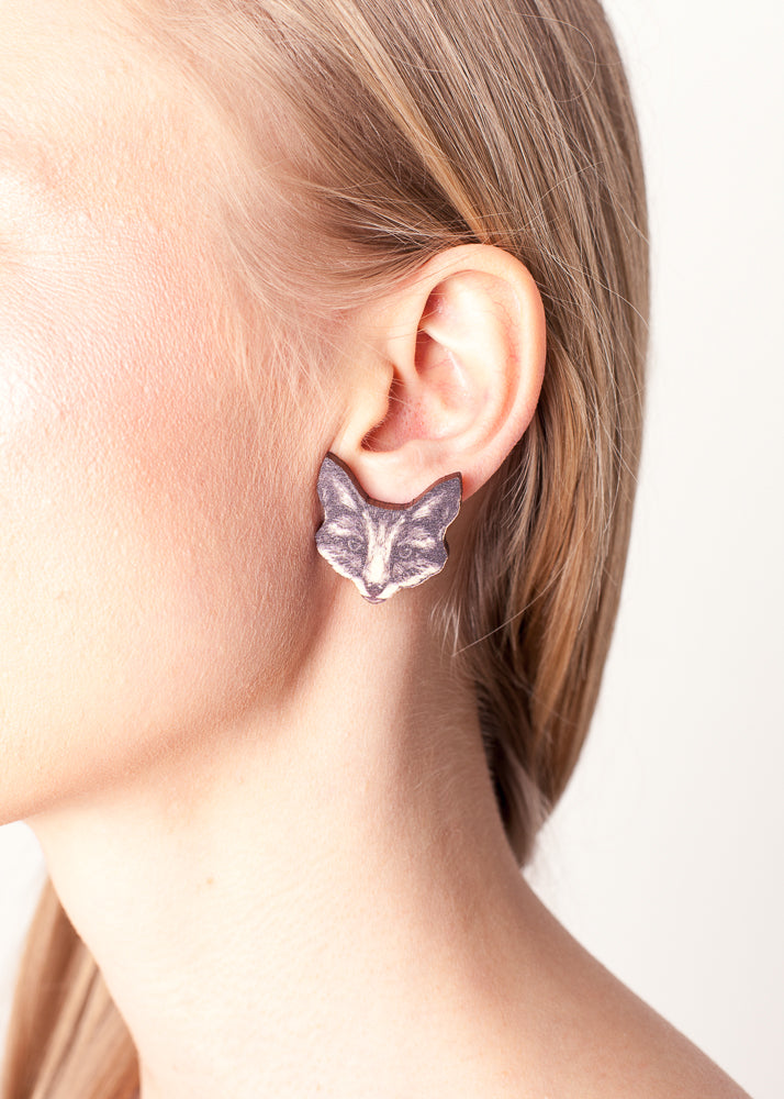 The Fox Stud Earrings, Wood