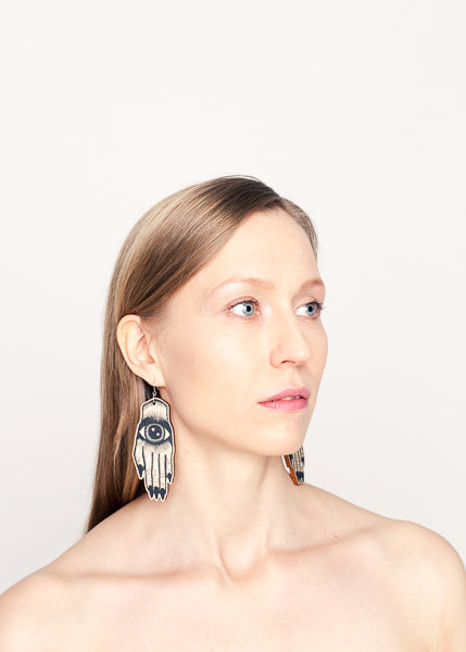 Artisan Earrings, Statement Size, Black/Wood