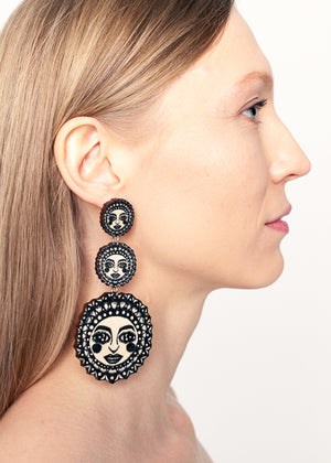 Sunny Earrings, Triple Dangle Stud, Black/Wood