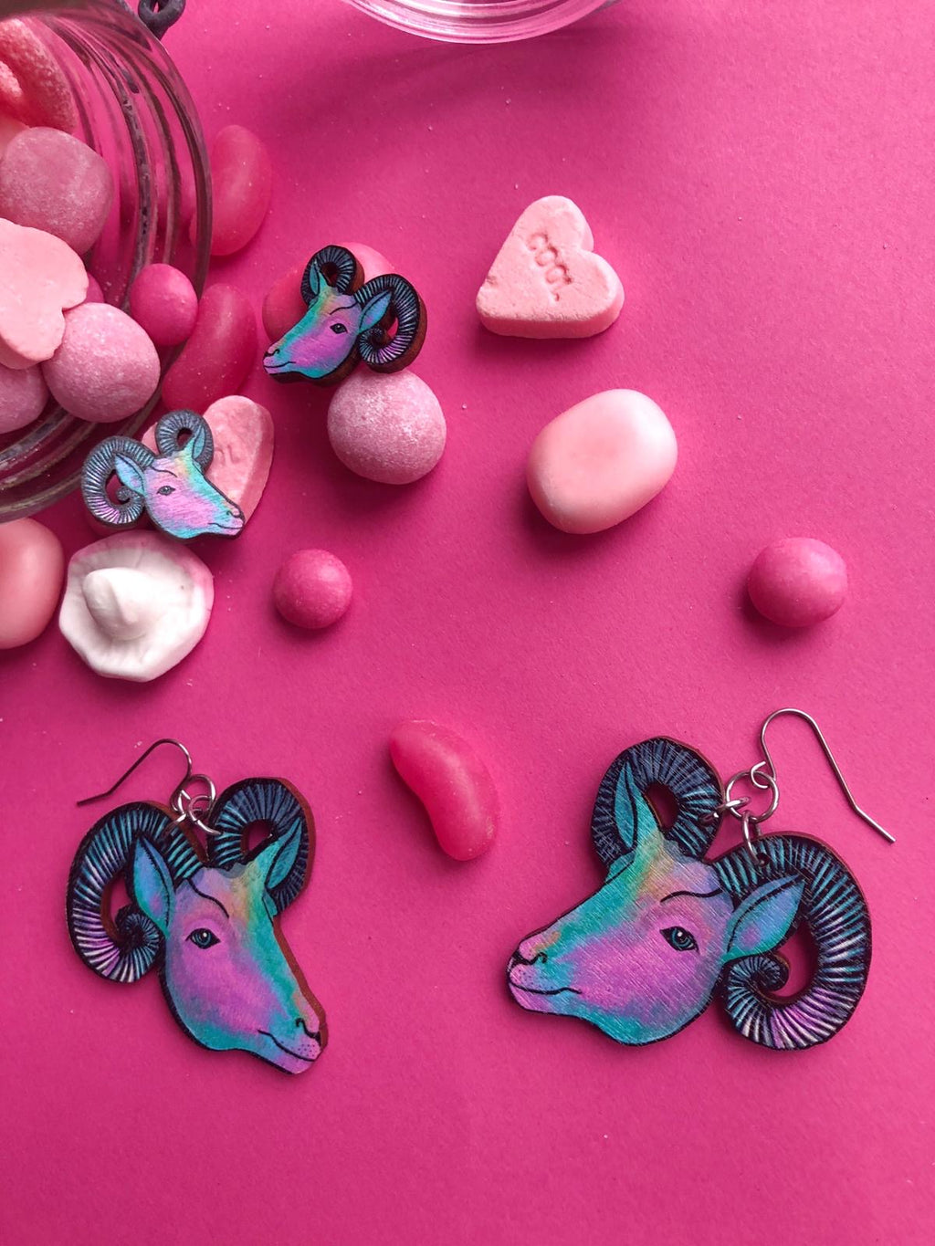 Goat Stud Earrings, Candy Color Wood