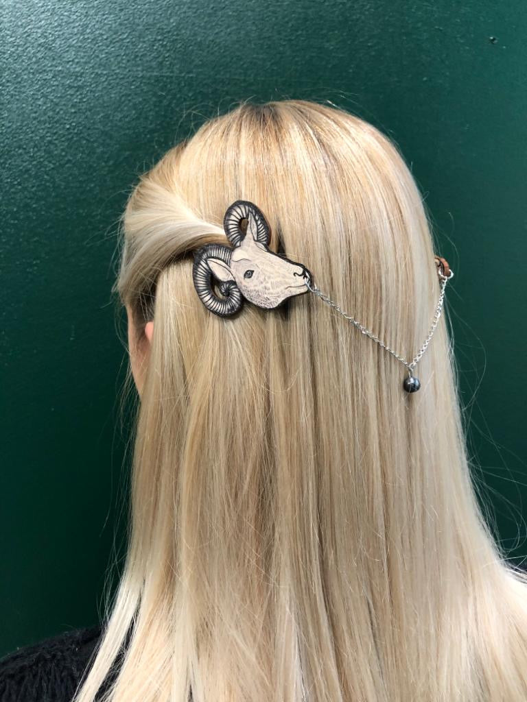 Goat, Hair Jewelry, Black/Wood