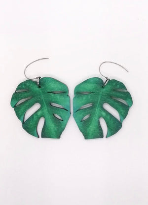 Monstera Leaf Earrings, Jungle Green, Wood