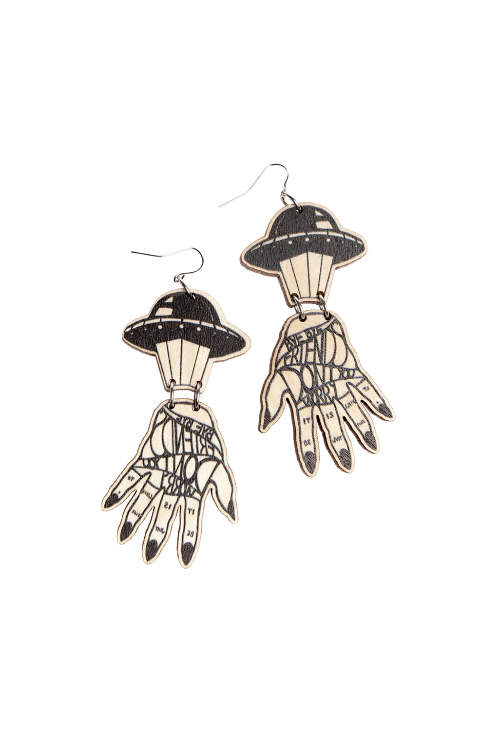 Abduktion Earrings, Black/Wood