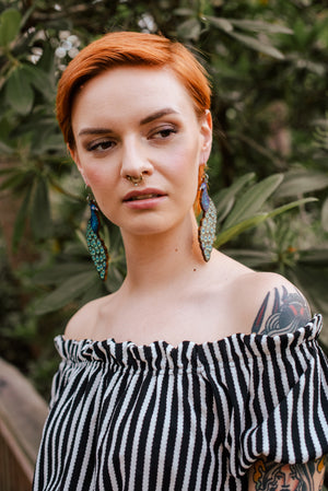 Peacock, Statement Earrings, Wood