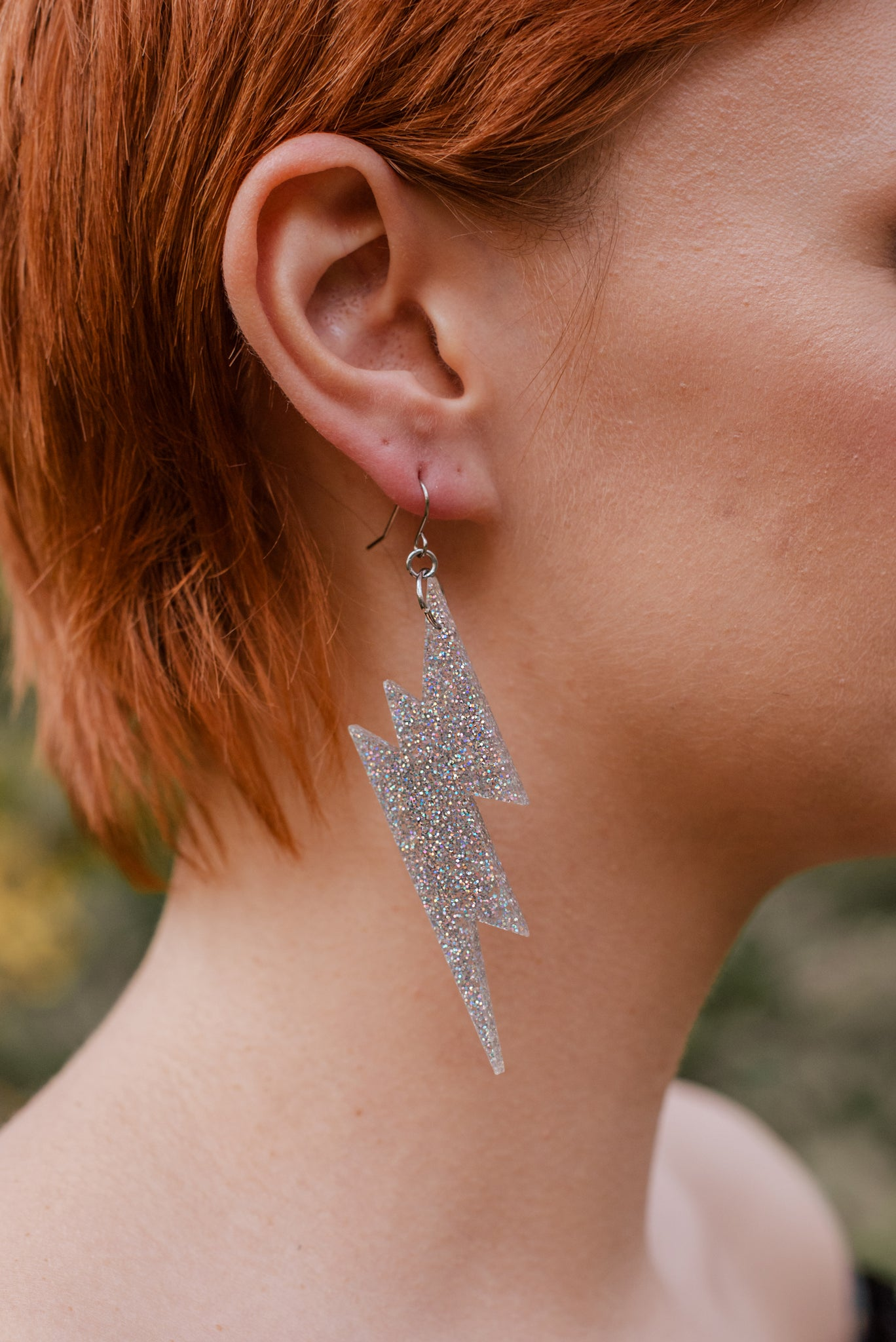 Lightning Earrings, Holographic Silver Glitter