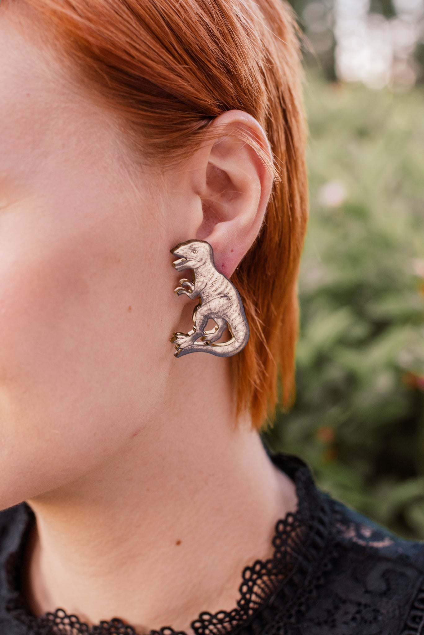 T-Rex Stud Earrings, Golden Color Mirror