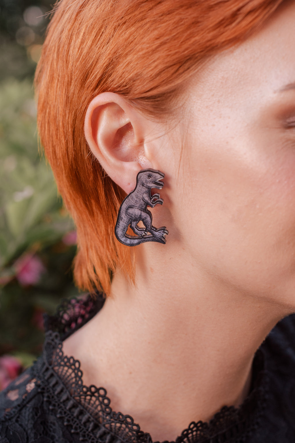 T-Rex Stud Earrings, Double Sided Silver Mirror