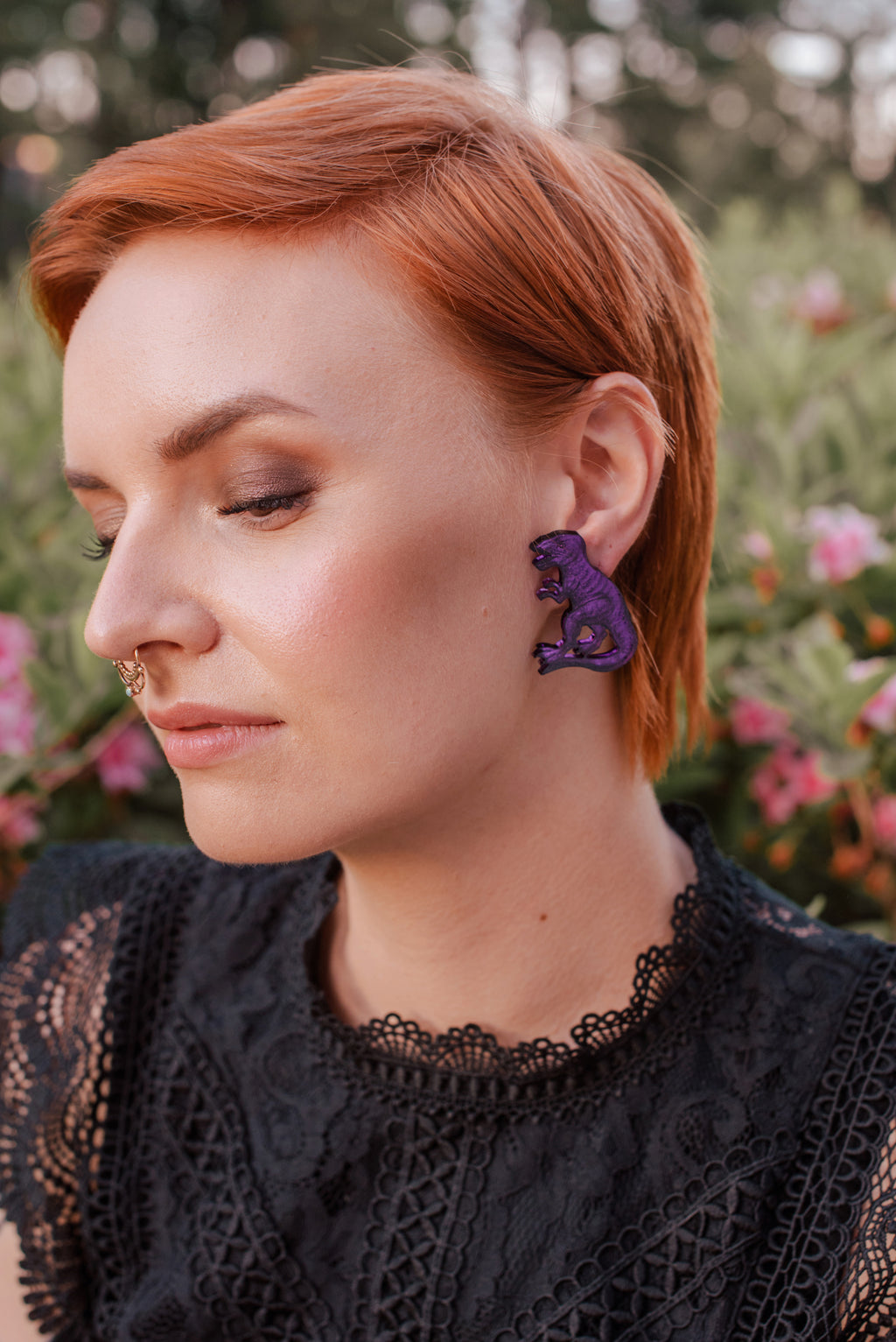 T-Rex Stud Earrings, Purple Color Mirror