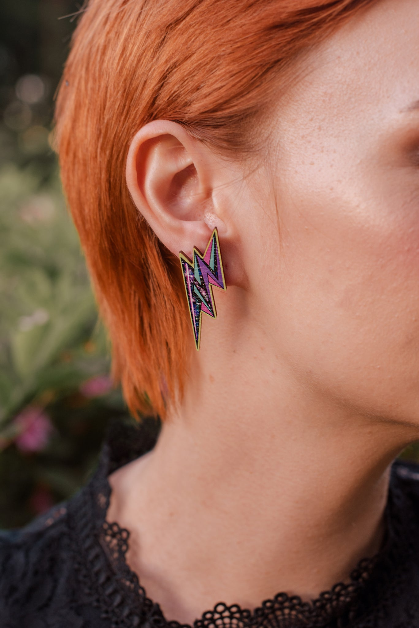 Neon Flash Stud Earrings, Wood