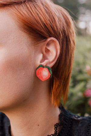 Peachy, Stud Earrings, Wood