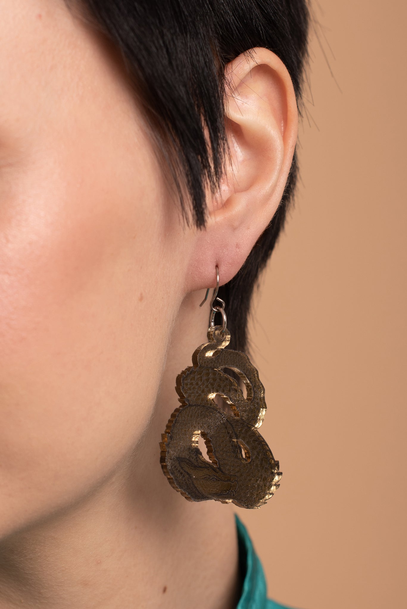 Dragon Earrings, Golden Mirror