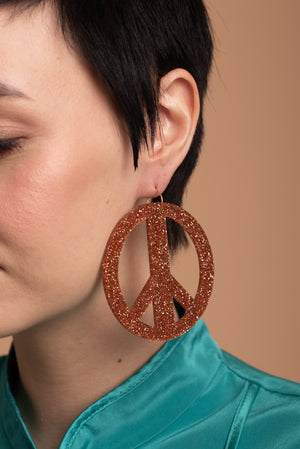 Rauha, Copper Glitter statement earrings