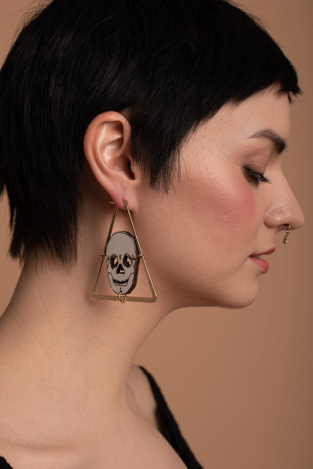 Skull Triangle Earrings, Golden color triangle, Wooden skull