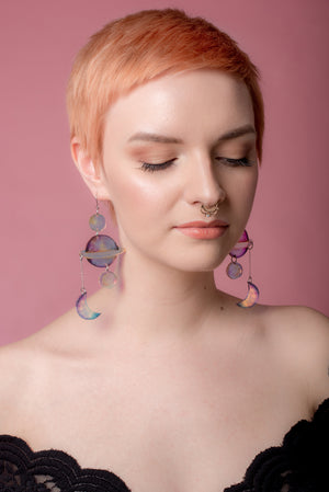 Planets Earrings, Holographic Multicolor