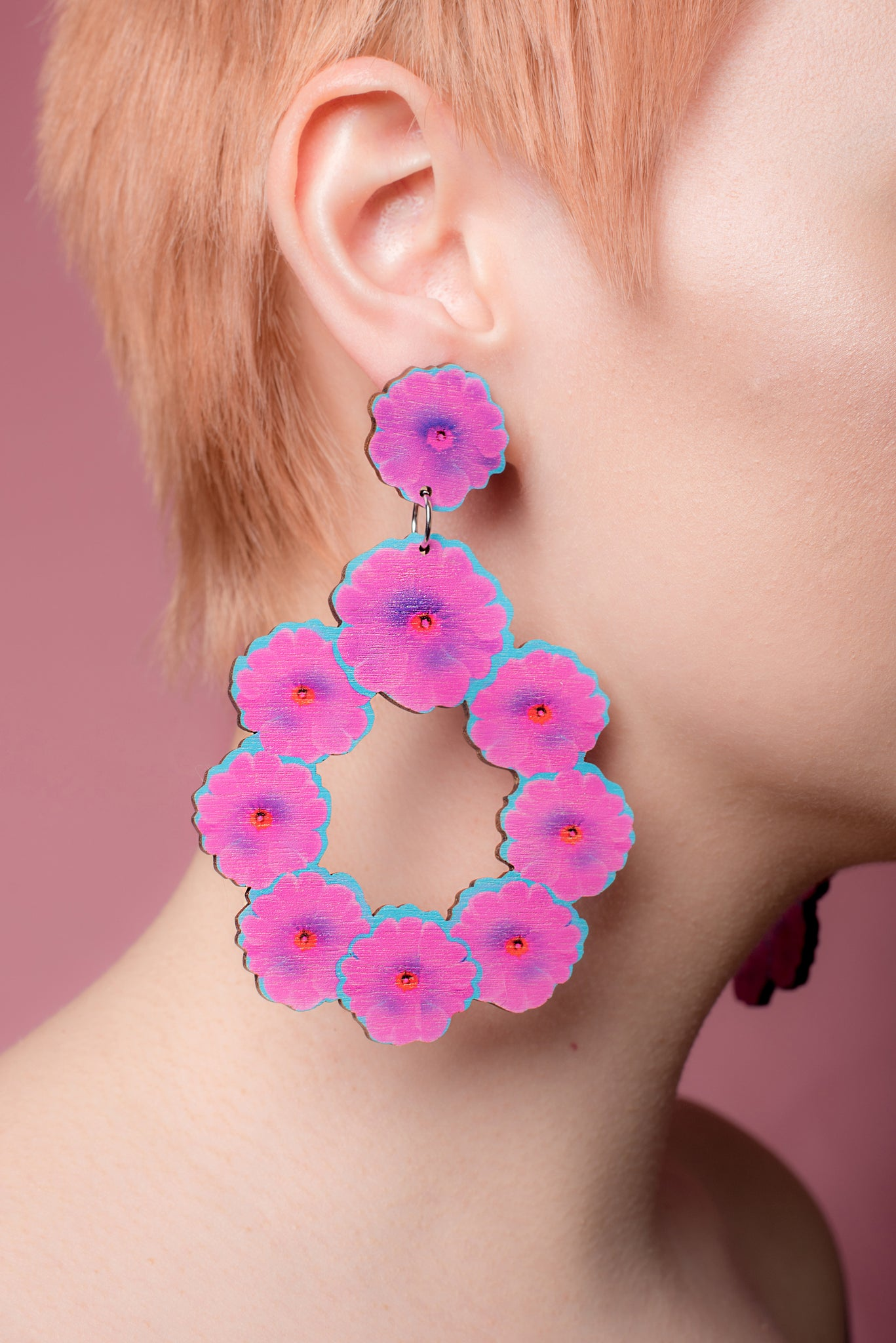 Gita Hoop Earrings, Fuchsia/Turqoise, Wood