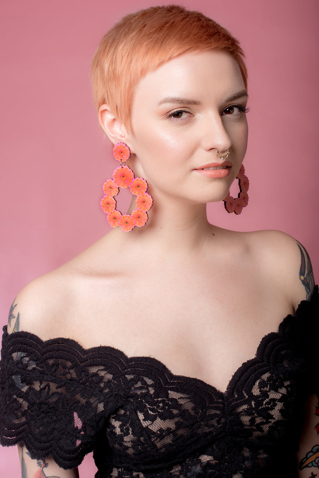 Gita Hoop Earrings, Tangerine/Pink, Wood