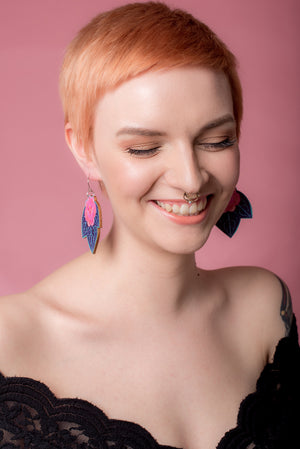 Senia Earrings, Pinky/Minty/Ultraviolet, Wood