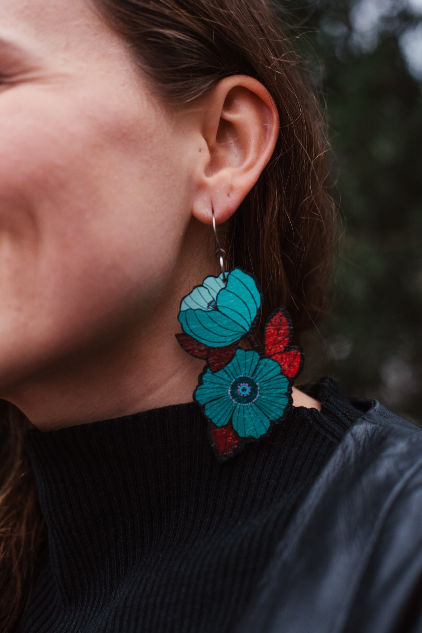 Forget Me Not Earrings, Petrol/Wine , Wood