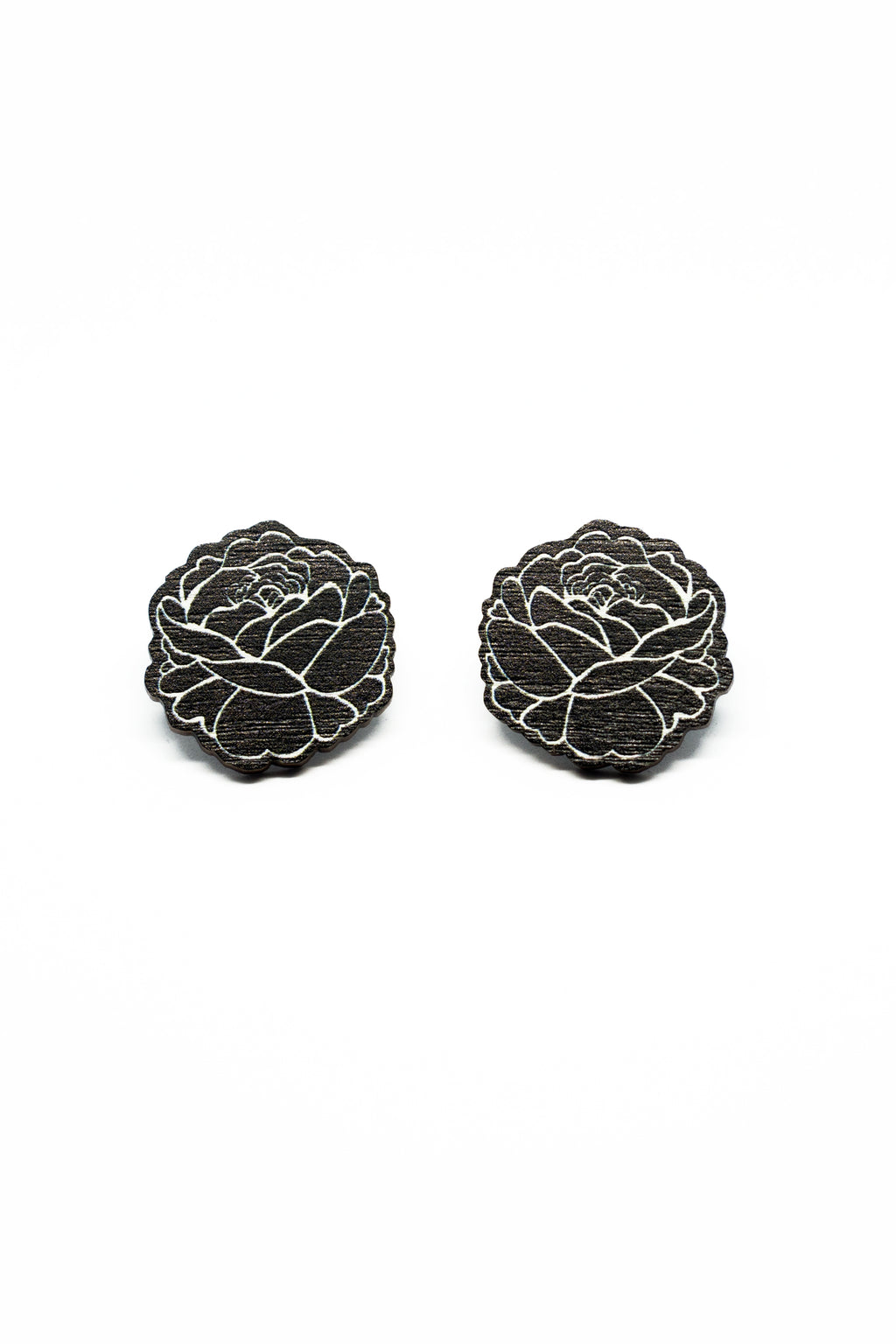 Black Rose Stud Earrings, Wood