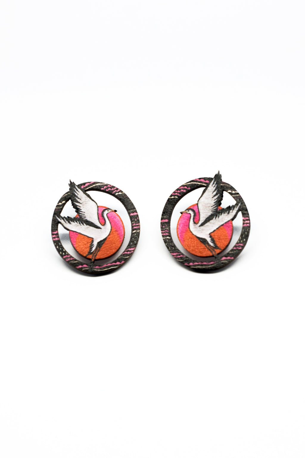 Grey Heron Stud Earring, wood, Sunset Color