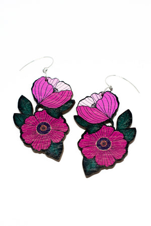 Forget Me Not Earrings, Pink/Teal Gray, Wood