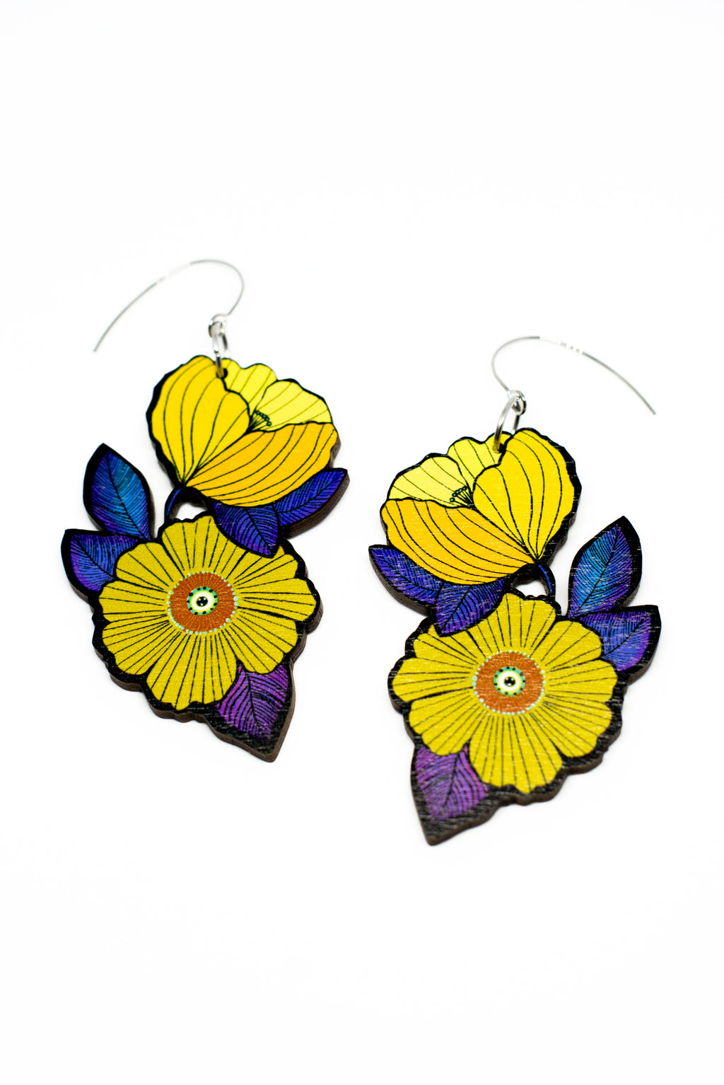 Forget Me Not Earrings, Lemon Yellow/Violet, Wood
