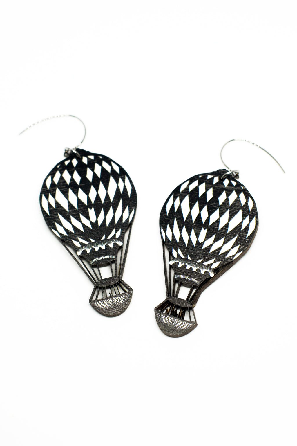 Adventure Earrings, Black And White, Wood
