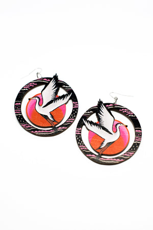 Grey Heron Earrings, wood, Sunset Color