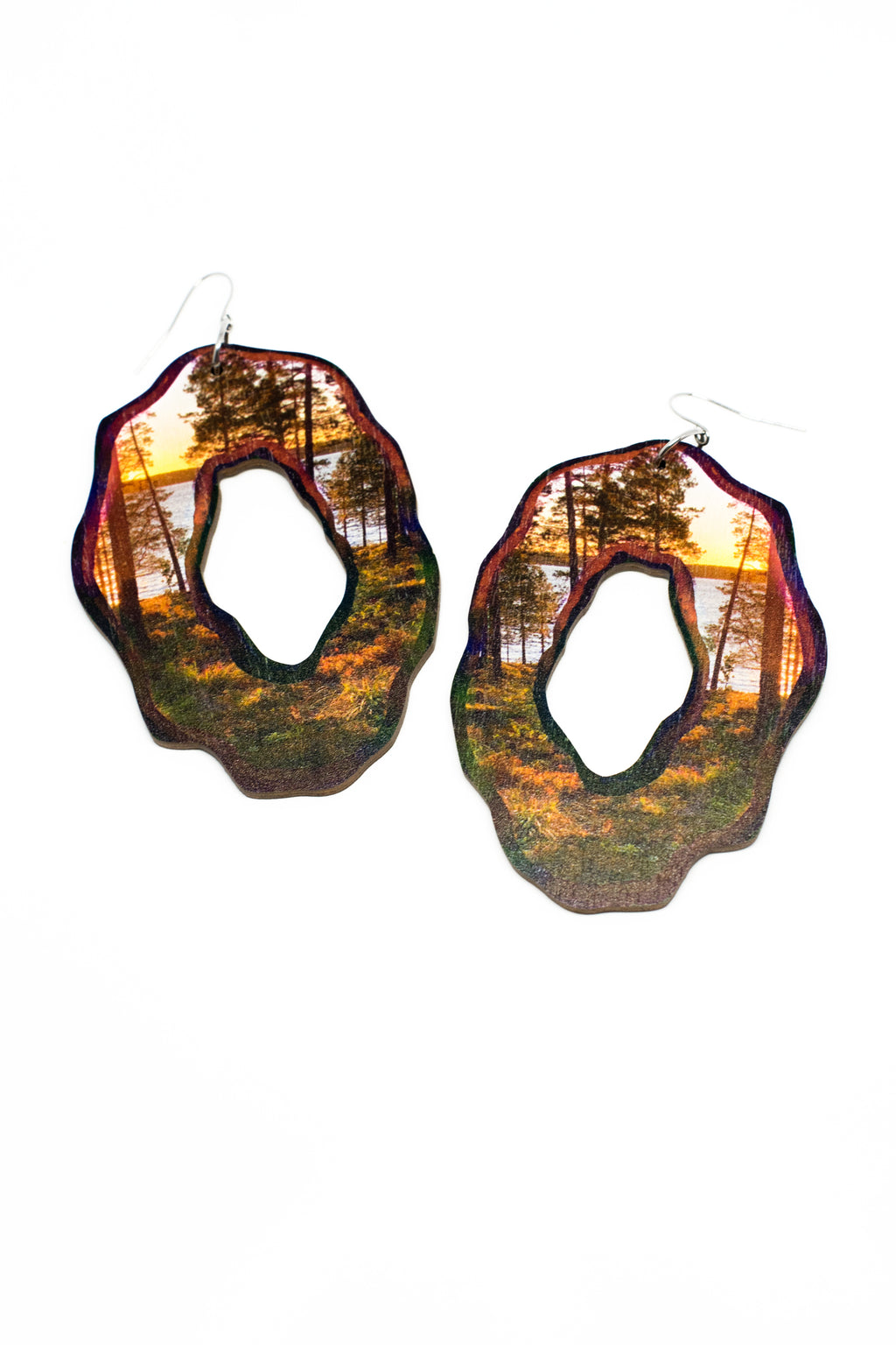 Ania earrings, wood
