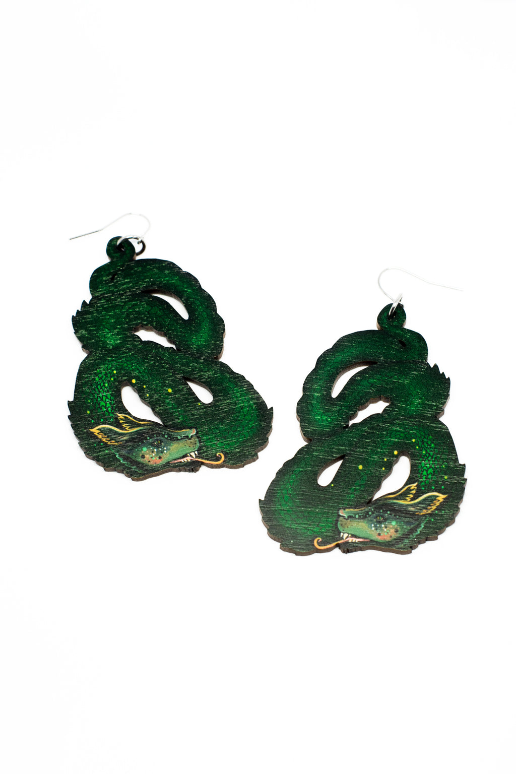 Dragon Earrings, Wood