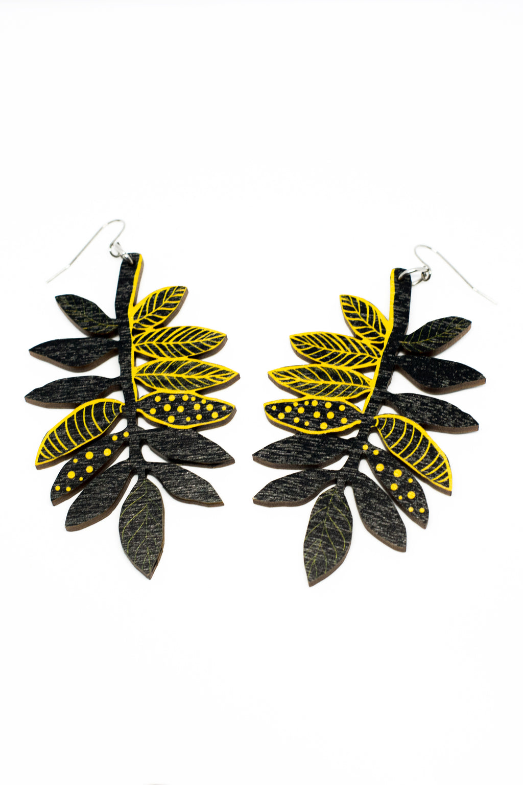 Rowan Leaf Earrings, Black/Yellow, Wood