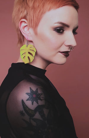 Monstera Leaf Earrings, Lemon yellow,  Wood