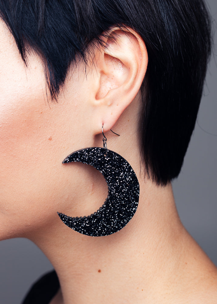 AW19 Cresent Moon Dangle earrings, Black Glitter
