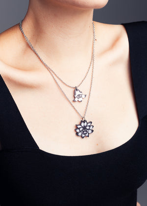 AW19 Mineatures Lotus Flower Charm Necklace, Double Sided Mirror