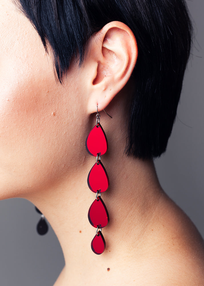 Vampire Tears Earrings, Red Mirror