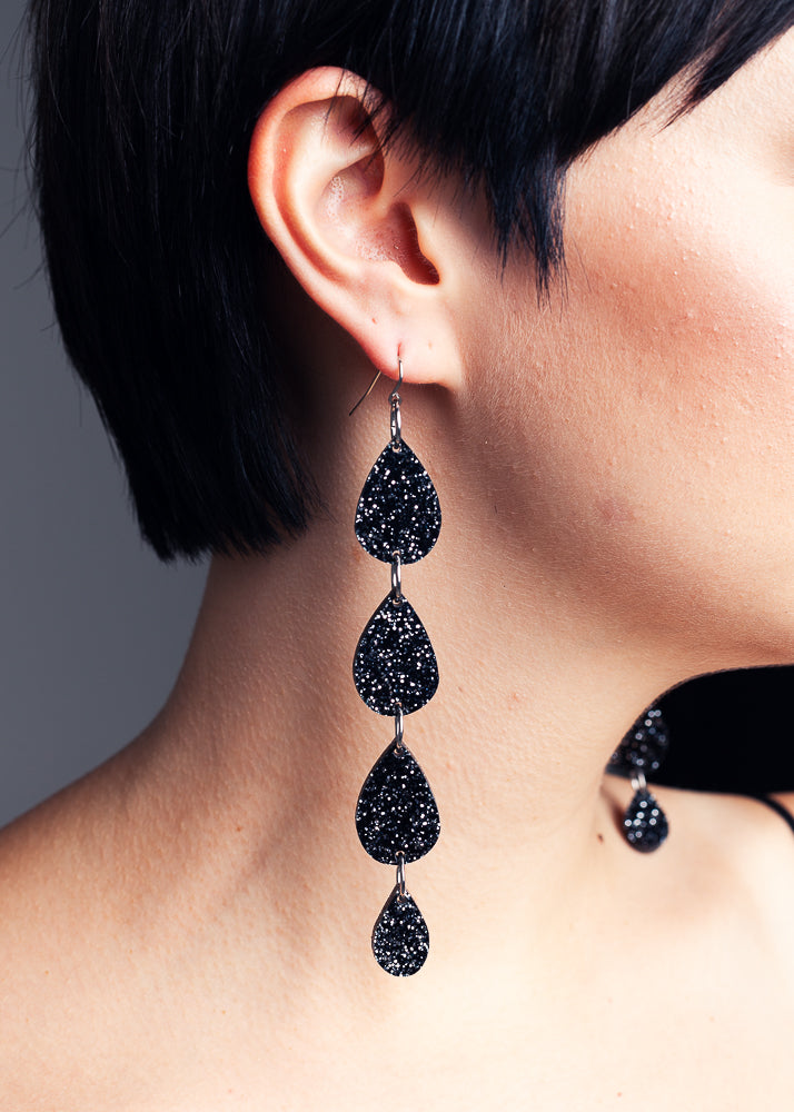 Galaxy Tears earrings, Black Glitter