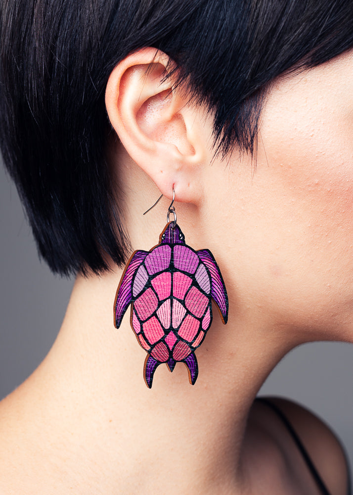 AW19 Tortoise Purple/Pink earrings, Wood