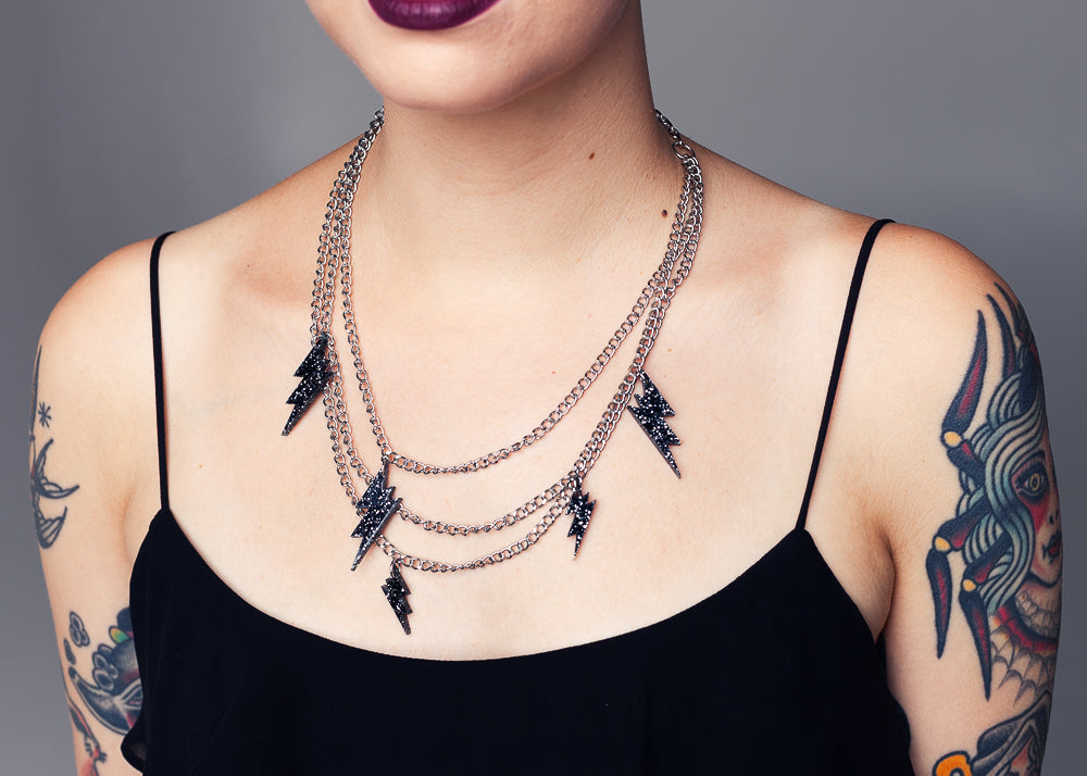 AW19 Sofia Lightning Necklace, Black Glitter