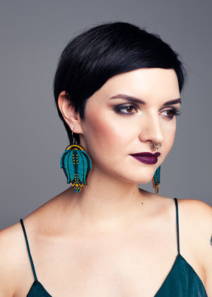 AW19 Linnea Single Dangle Earrings, Teal/Lemon/Black Color, Wood