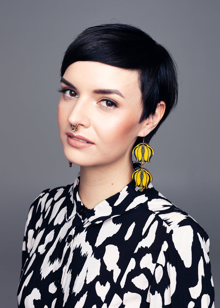 AW19 Linnea Double Dangle Earrings, Sunflower/Liqourice Color, Wood