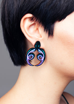 AW19 Octopus Stud Earrings, Wood