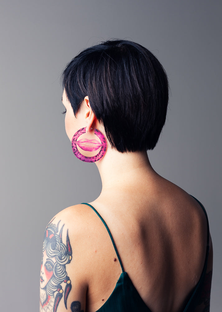 AW19 Deborah Hoops, Hot Pink color, Re-cycled Acrylic