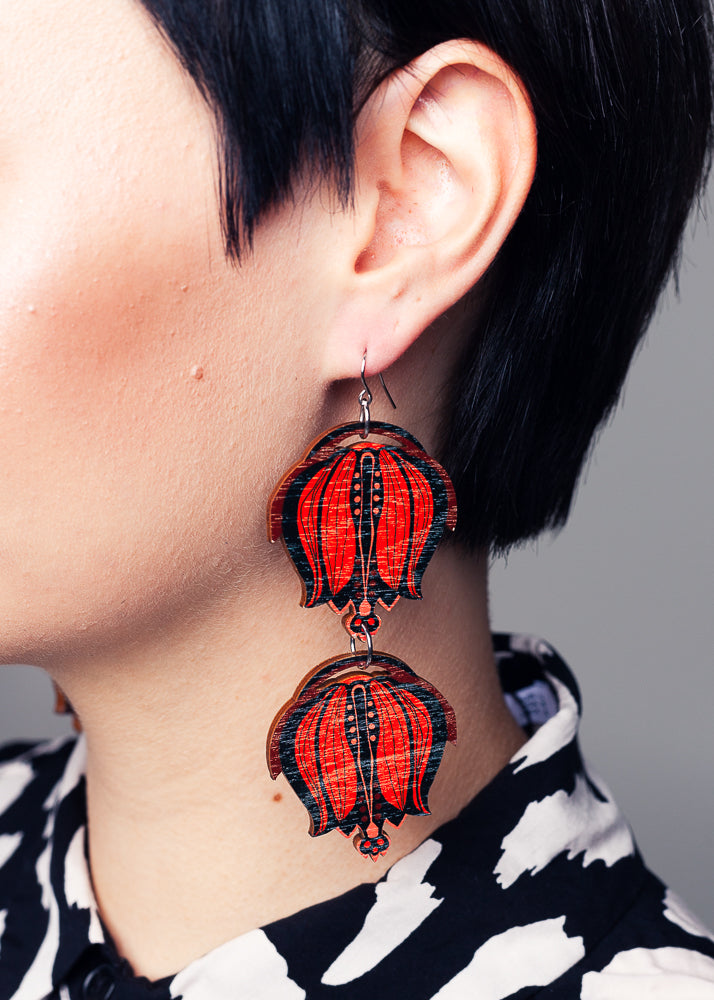 AW19 Linnea Double Dangle Earrings, Red/Black Color, Wood