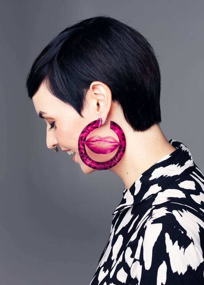 AW19 Deborah Maxi Hoops, Hot Pink color, Re-cycled Acrylic