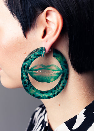AW19 Deborah Maxi Hoops, Jungle Green color, Re-cycled Acrylic