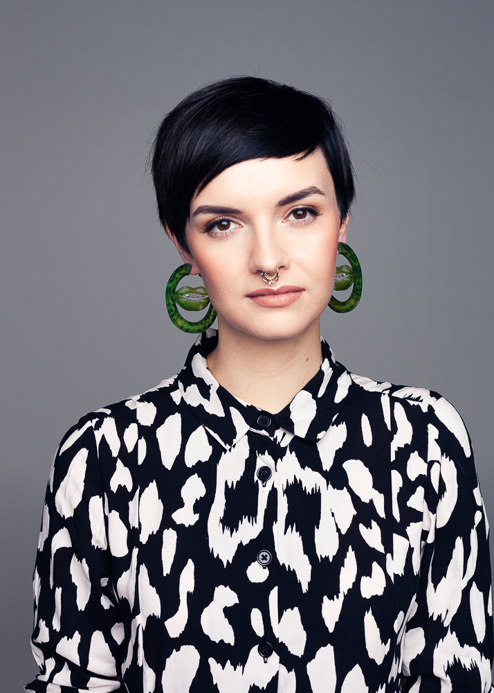 AW19 Deborah Hoops, Poison Ivy color, Re-cycled Acrylic