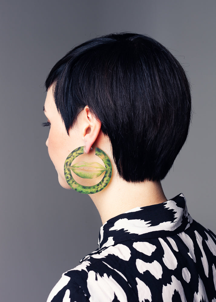 AW19 Deborah Hoops, Poison Ivy color, Recycled Acrylic