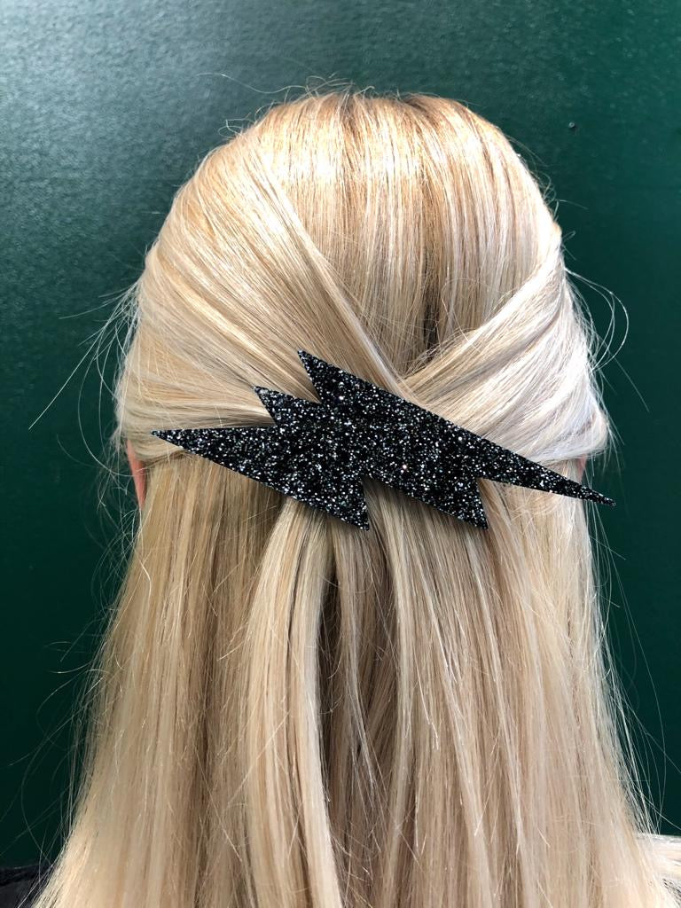 Giant Lightning Hair Clip, Black Glitter