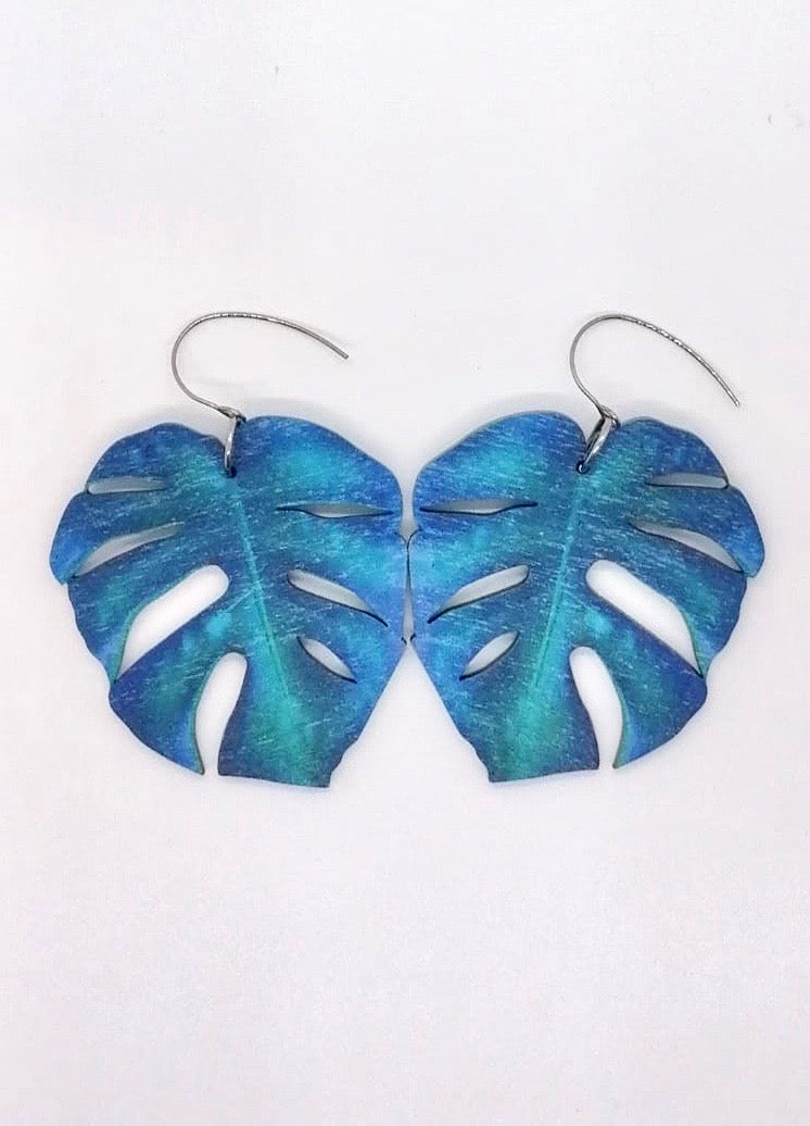 Monstera Leaf Earrings, Tropical Blue, Wood