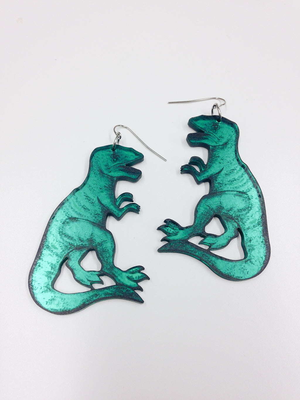 T-Rex Earrings, Green Mirror